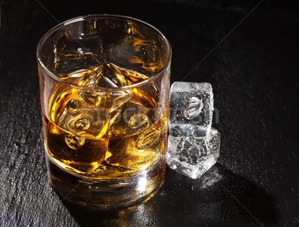 ガラス ウイスキー 氷 黒 石 表 ストックフォト © karandaev