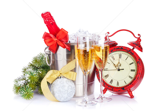Champagne, christmas clock and fir tree Stock photo © karandaev