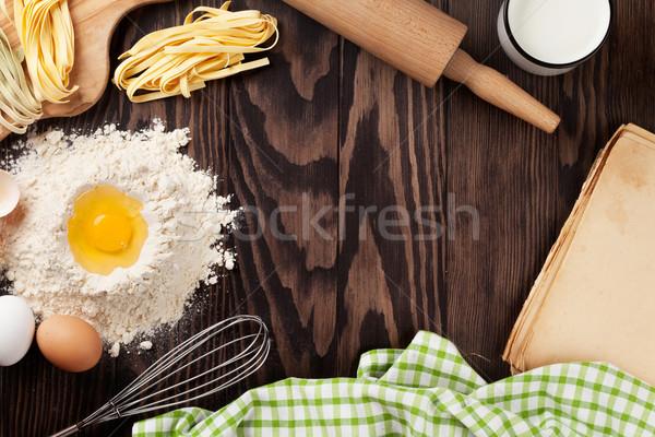 Mesa de cocina receta libro ingredientes vintage Foto stock © karandaev