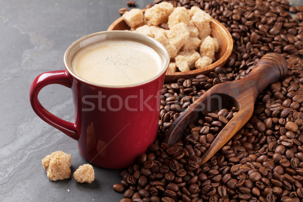 Tazza di caffè fagioli zucchero di canna pietra tavola texture Foto d'archivio © karandaev