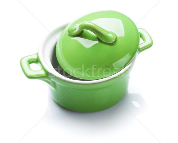 кастрюля зеленый изолированный белый продовольствие домой Сток-фото © karandaev