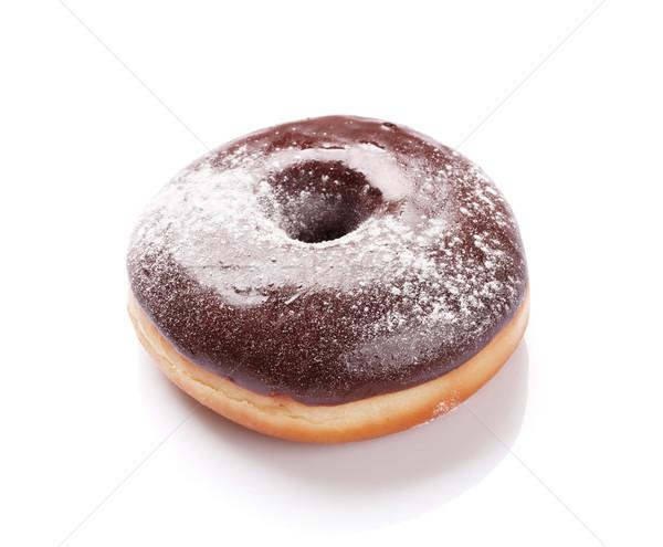 Schokolade Donut Zucker Pulver isoliert weiß Stock foto © karandaev