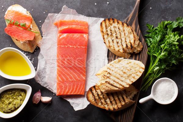 Сток-фото: сэндвич · лосося · тоста · приготовления · каменные · Top