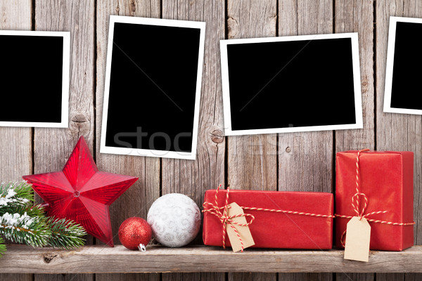Stock fotó: Karácsony · fotók · ajándékok · fenyőfa · fotó · keret