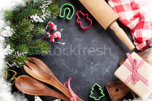 Noël cuisson ustensiles neige arbre pierre Photo stock © karandaev