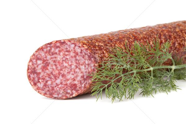 Italian salami sausage with dill Stock photo © karandaev