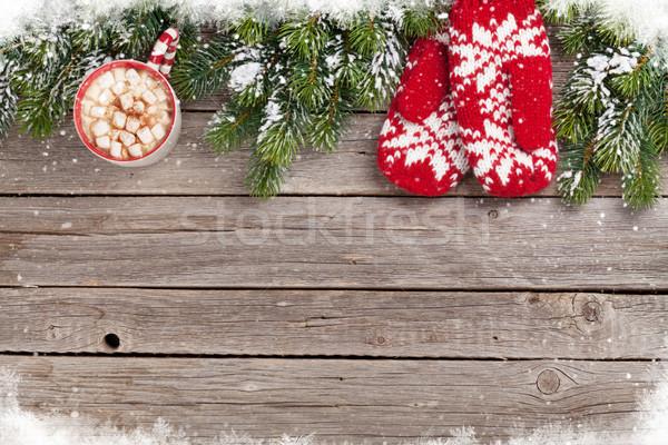 Natal luvas chocolate quente marshmallow mesa de madeira Foto stock © karandaev