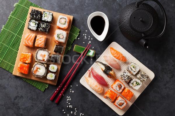 набор суши маки зеленый чай каменные таблице Сток-фото © karandaev