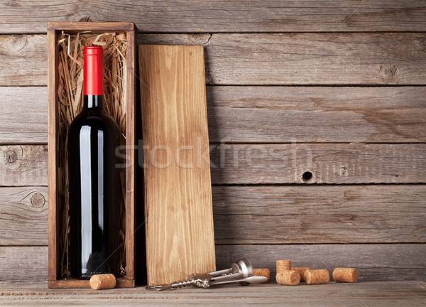 Stock photo: Red wine bottle in box
