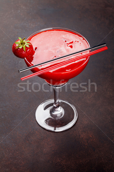 Strawberry margarita cocktail Stock photo © karandaev