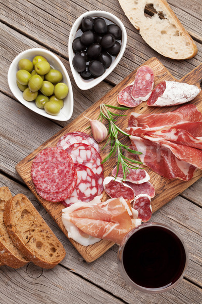Salami, ham, sausage, prosciutto and wine Stock photo © karandaev