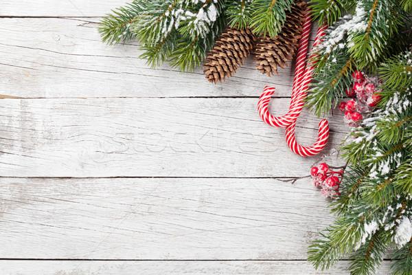 Christmas snoep sneeuw houten tafel top Stockfoto © karandaev