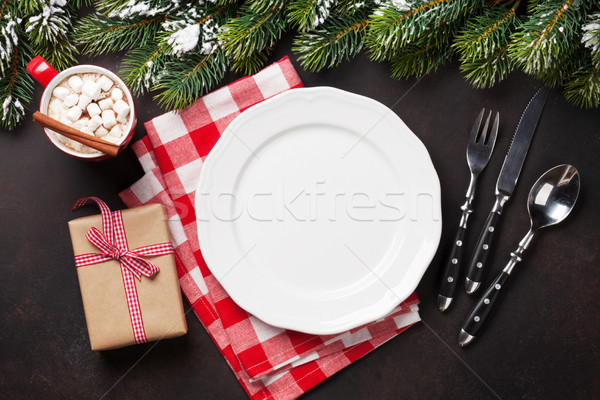 Noel akşam yemeği plaka hediye Stok fotoğraf © karandaev