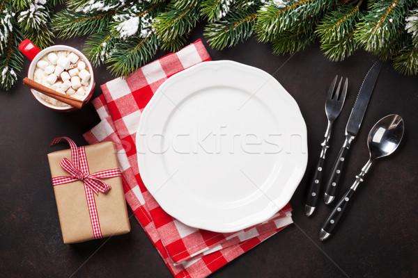 Noël dîner plaque argenterie cadeau Photo stock © karandaev