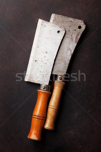 Foto stock: Açougueiro · vintage · carne · facas · pedra · conselho