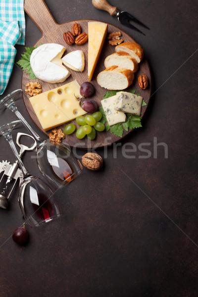 Stock photo: Wine, grape and cheese