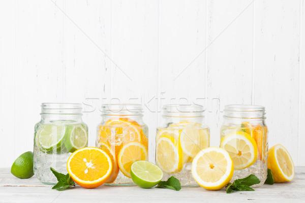 Stock photo: Fresh lemonade jar