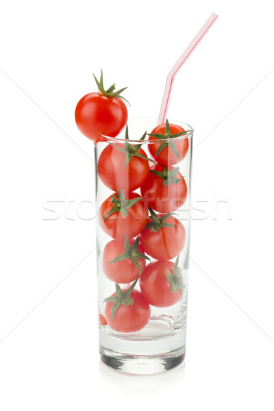 Cherry tomatoes in glass with drinking straw Stock photo © karandaev