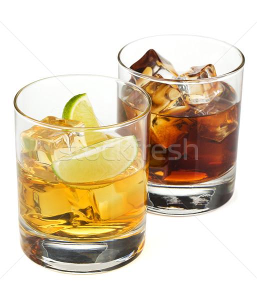 Stockfoto: Whiskey · cola · cocktails · geïsoleerd · witte · achtergrond