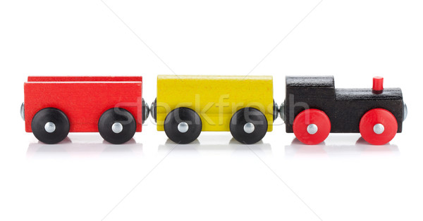 Wooden toy colored train Stock photo © karandaev