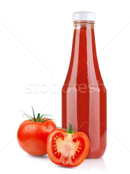 Tomaat ketchup fles rijp tomaten geïsoleerd Stockfoto © karandaev