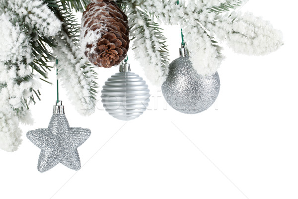 Fir tree branch with christmas decor covered with snow Stock photo © karandaev