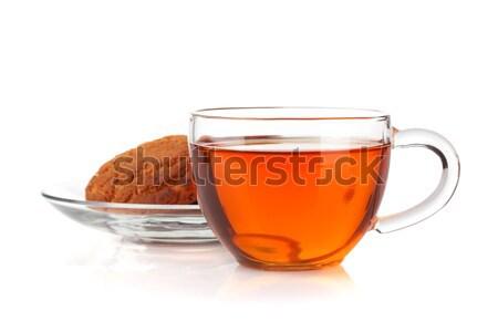 ストックフォト: ガラス · カップ · 黒 · 茶 · 自家製 · クッキー