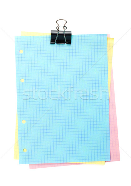 Colorful lined office paper with clip Stock photo © karandaev