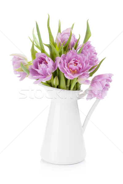Pink tulips bouquet in pitcher Stock photo © karandaev