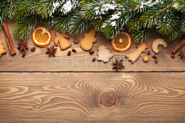 Christmas Wooden Background With Snow Fir Tree Spices And