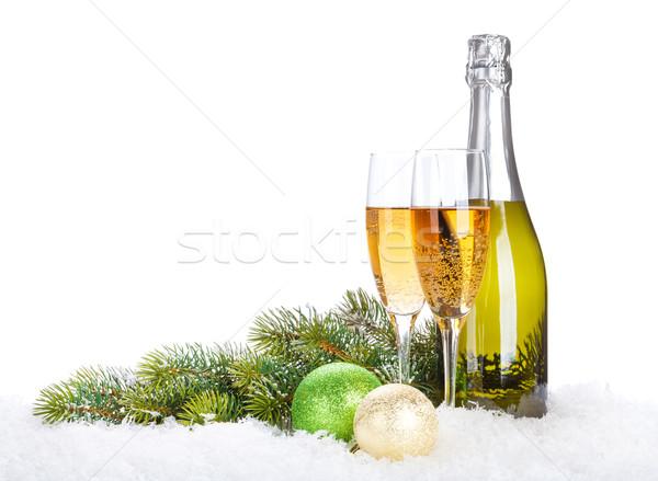 Stok fotoğraf: şampanya · Noel · kar · bo