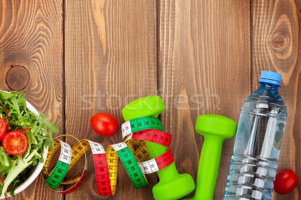 şerit metre sağlıklı gıda uygunluk sağlık ahşap Stok fotoğraf © karandaev