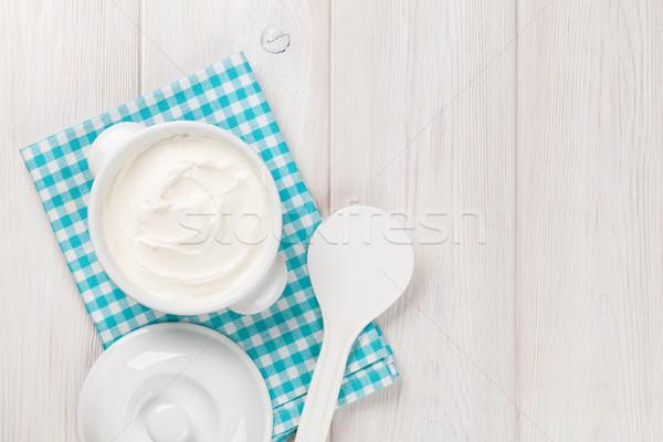 サワークリーム ボウル 木製のテーブル 先頭 表示 コピースペース ストックフォト © karandaev
