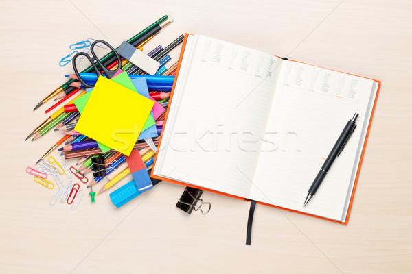 Stock fotó: Iskola · irodaszerek · iroda · asztal · felső · kilátás