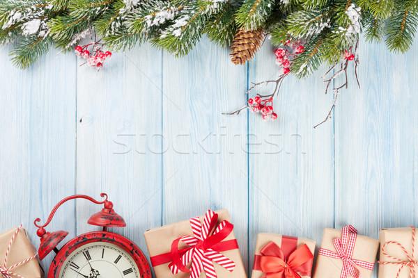 Stock fotó: Karácsonyfa · ébresztőóra · ajándékok · karácsony · fából · készült · hó