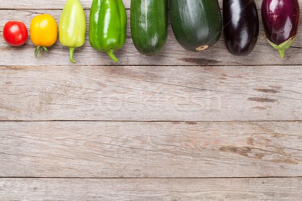 Stok fotoğraf: Taze · çiftçiler · bahçe · sebze · ahşap · masa · üst