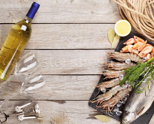 Photo stock: Fraîches · brut · mer · alimentaire · épices · vin · blanc