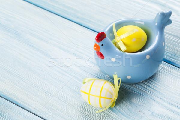 œufs de Pâques table en bois bleu vue espace de copie Photo stock © karandaev
