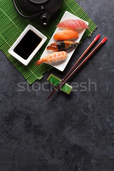 Szett szusi zöld tea kő asztal felső Stock fotó © karandaev