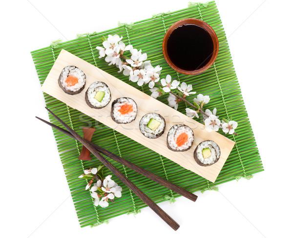 Sushi maki set salmone cetriolo sakura Foto d'archivio © karandaev