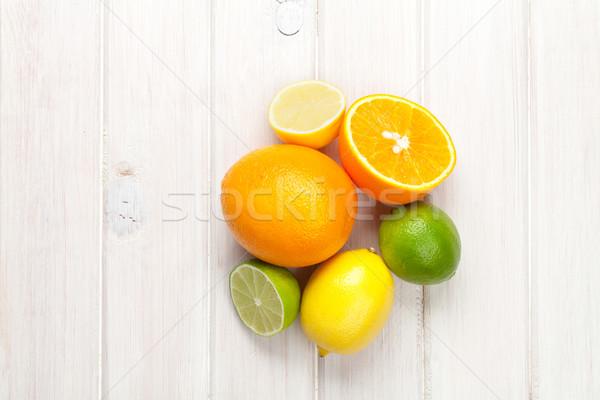 Cytrus owoce pomarańcze cytryny górę widoku Zdjęcia stock © karandaev