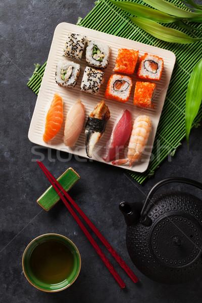 Szett szusi maki zöld tea kő asztal Stock fotó © karandaev