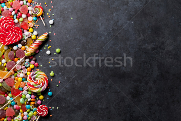 Színes cukorkák zselé kő felső kilátás Stock fotó © karandaev