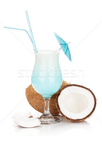 синий Гавайи коктейль изолированный белый Сток-фото © karandaev