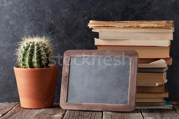 図書 サボテン チョーク ボード 文字 ストックフォト © karandaev