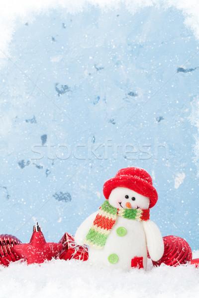 Navidad muñeco de nieve decoración azul muro de piedra espacio de la copia Foto stock © karandaev