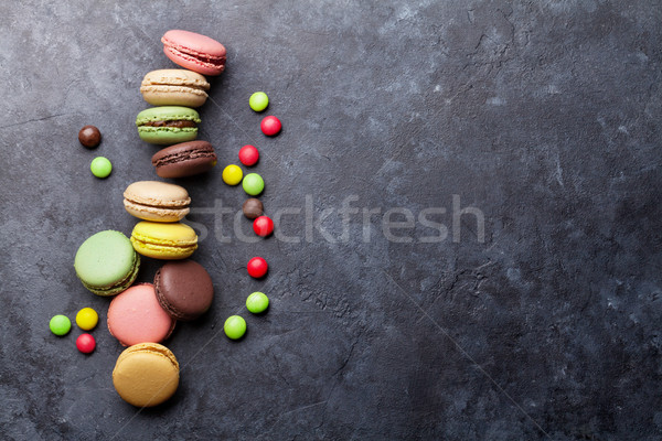 Colorful macaroons and candies. Sweet macarons Stock photo © karandaev