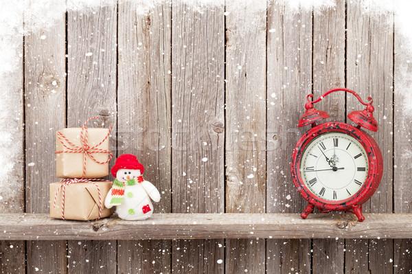 Natale sveglia pupazzo di neve giocattolo legno Foto d'archivio © karandaev