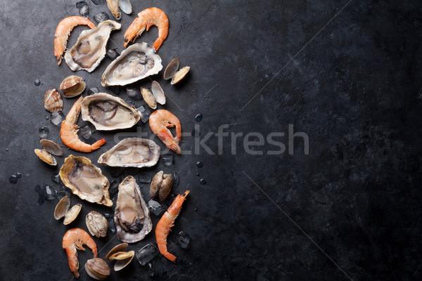Fresche frutti di mare pietra tavola Foto d'archivio © karandaev