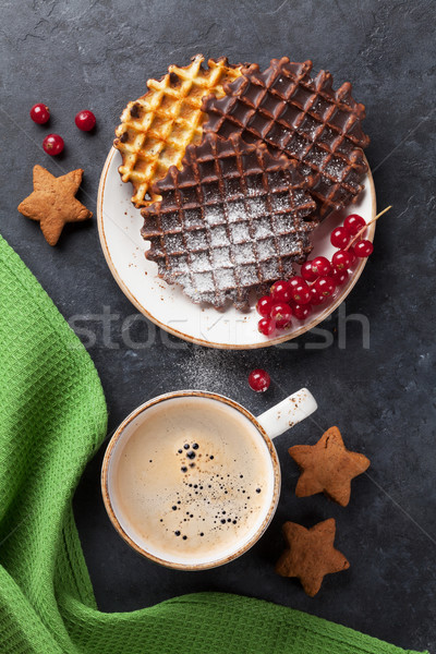 Koffie bessen top voedsel chocolade Stockfoto © karandaev